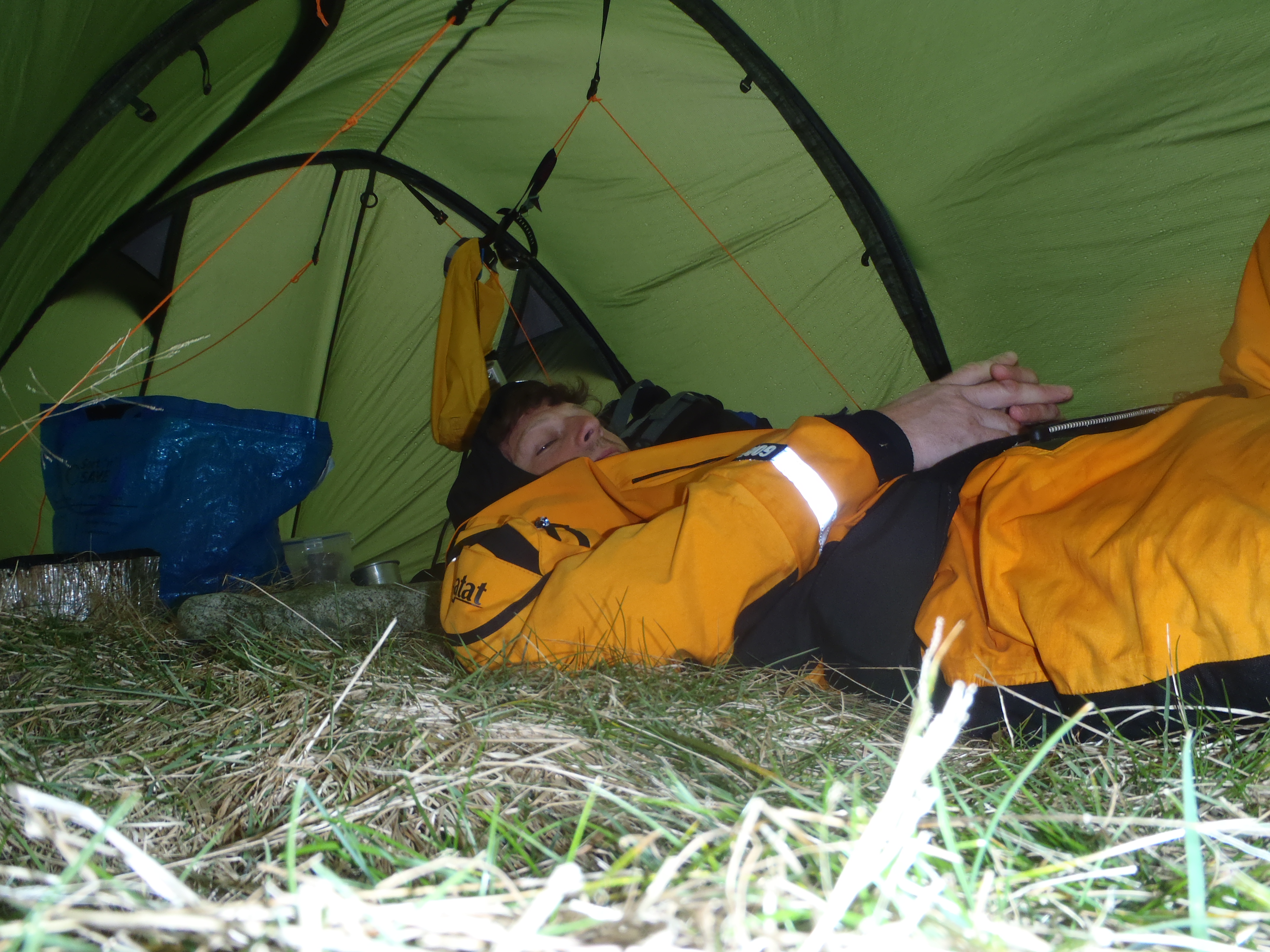 Hiding in a tent